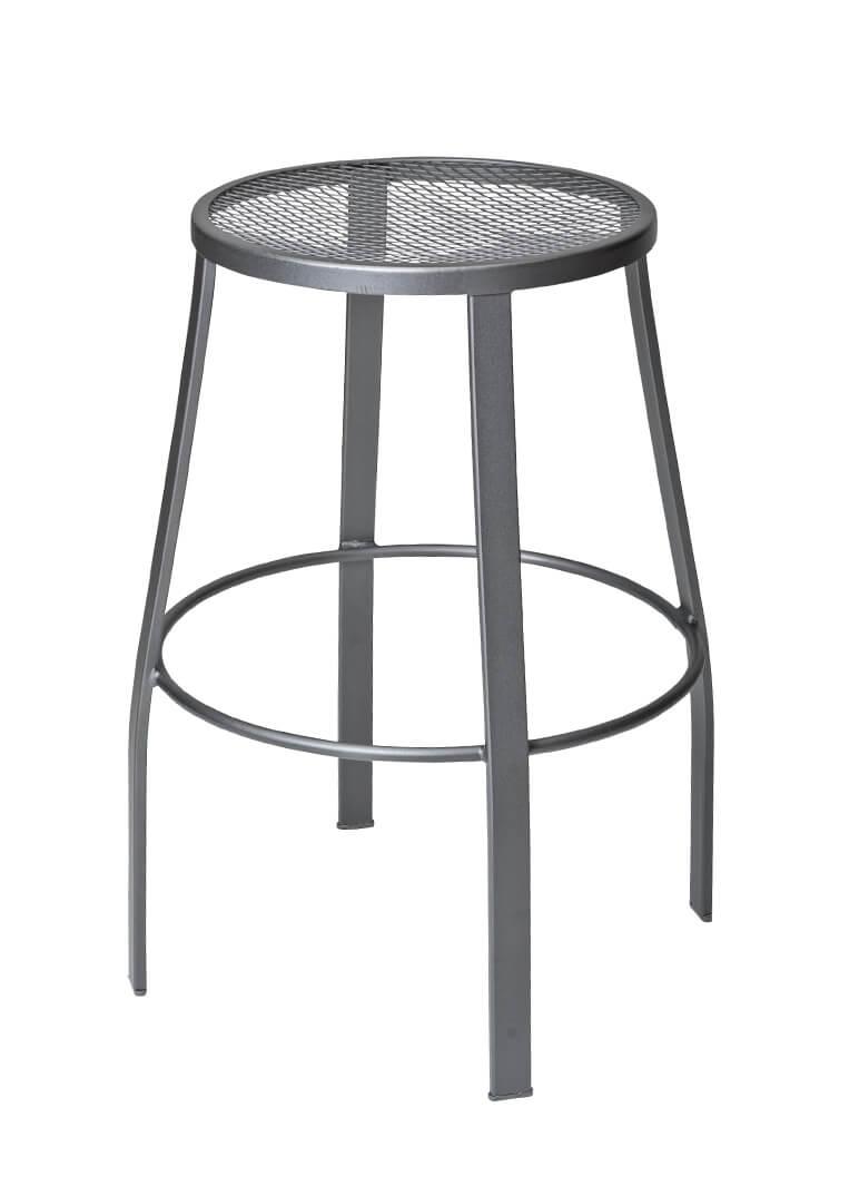 Outdoor Backless Iron Swivel Bar Stool - Mesh Seat