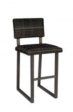 Woodard's Canaveral Harper Outdoor Stationary Woven Bar Stool with Back and Sled Base in Charcoal