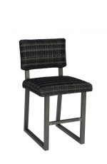 Woodard's Canaveral Harper Outdoor Stationary Woven Counter Stool with Back and Sled Base in Charcoal