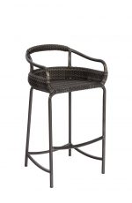Woodard's Canaveral Nelson Outdoor Woven Bar Stool with Low Back and Arms - Shown in Charcoal Gray Weave