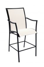 Woodard's Dominica Sling Stationary Barstool with Arms in Black Metal and Off-White Upholstered Seat and Back