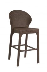Woodard's All-Weather Bali Outdoor Woven Bar Stool with Back in Coffee Weave