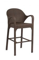 Woodard's All-Weather Bali Outdoor Woven Bar Stool with Back and Arms in Coffee Weave