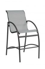 Woodard's Stationary Outdoor Bar Stool with Arms and Padded Seat/Back