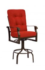 Woodard's Upholstered Swivel Outdoor Barstool with Arms in Spectator Height in Red Cushion