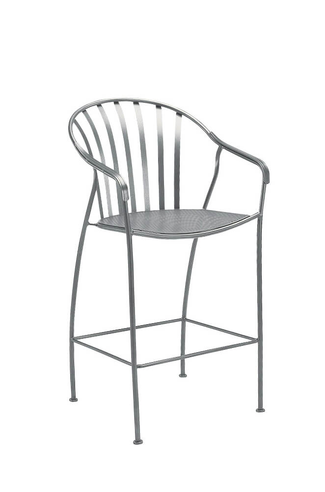 Valencia Outdoor Iron Stationary Bar Stool with Arms by Woodard