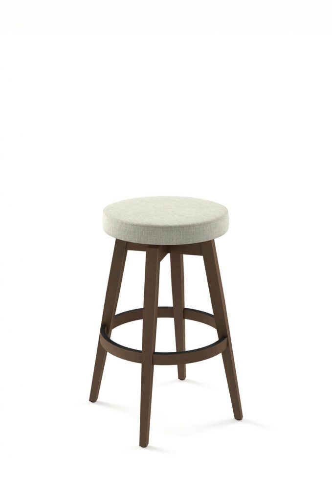 Amisco's Anton Backless Swivel Wood Counter Stool in Brown Wood Finish and Off-White Fabric