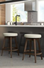 Amisco's Anton Backless Swivel Wooden Bar Stools with Large Round Seat - Shown in Modern Kitchen