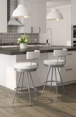 Amisco's Umbria Modern Urban Swivel Bar Stools with Low Back - Shown in Modern White and Black Kitchen