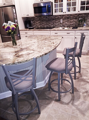 Holland's Catalina Swivel Counter Stools in Nickel Metal Finish and Expo Latte Fabric in Transitional Kitchen