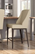 Amisco's Bridget Farmhouse Upholstered Bar Stool with Back and Metal Base