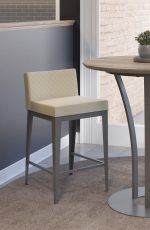 Amisco's Ethan Upholstered Quilted Barstool with Low Back in Modern Dining Space and Pub Table