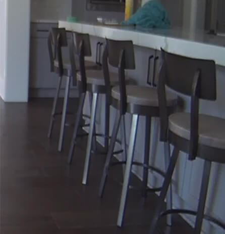 Amisco's Lauren Swivel Kitchen Counter Stools in Transitional Kitchen