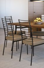 Amisco's Lisia Industrial Dining Chairs with Tall, Slat Back in Brown and Shown in Modern Dining Room with Wood Table