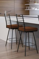 Amisco's Lisia Transitional Swivel Bar Stool with Thick Seat Cushion in Redish Brown