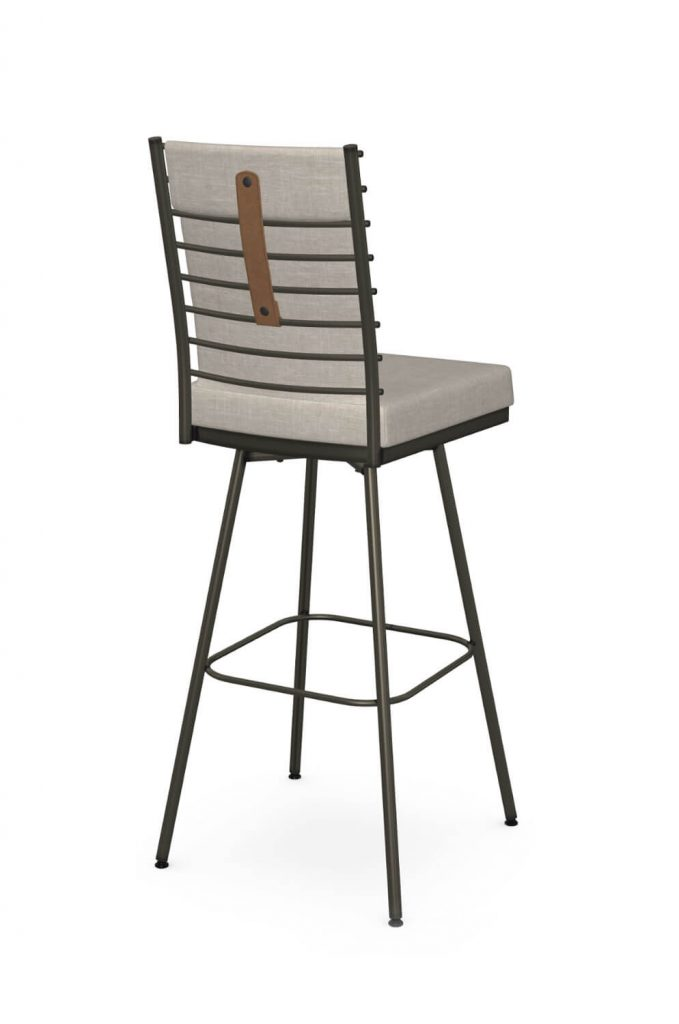 Amisco's Lisia Upholstered Brown Swivel Bar Stool with Leather Handle on Back