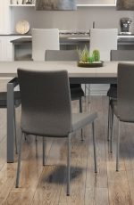 Amisco's Osten Upholstered Gray Dining Chairs in Modern Open-Concept Dining Space