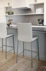 Amisco's Osten Upholstered Non-Swivel Metal Bar Stools in Gray in Modern Kitchen