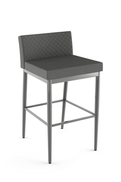 Amisco's Hanson XL Upholstered Modern Stationary Barstool with Low Back and Four Legs