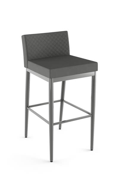 Amisco's Hanson Upholstered Modern Stationary Barstool with Low Back and Four Legs