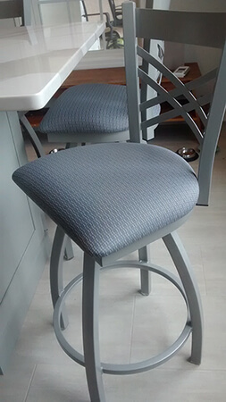 Holland's Catalina Swivel Kitchen Counter Stool in Nickel Metal Finish and Charcoal Fabric Seat Cushion