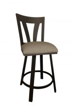 Callee's Austin Brown Swivel Bar Stool with Back and Seat Cushion with Metal Frame