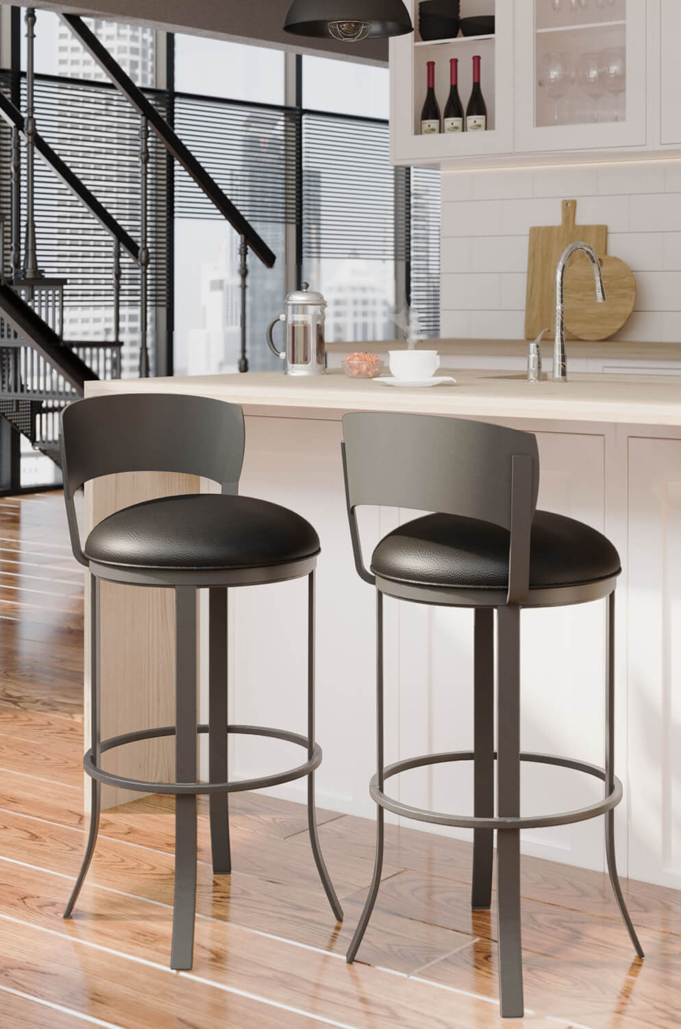 Buy Callee S Bailey Black Modern Swivel Bar Stool Free