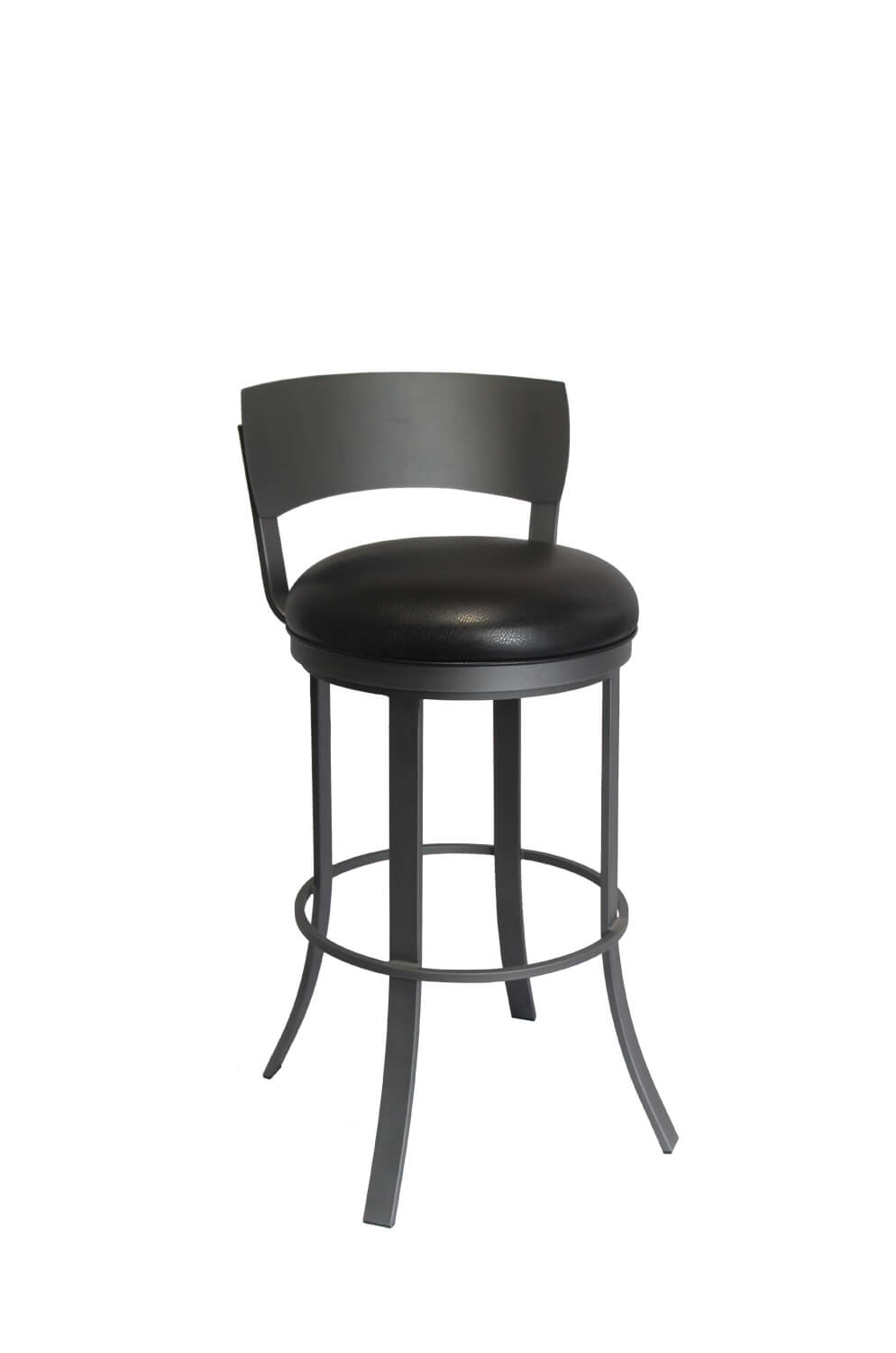new arrival 025d1 6c8eb Bailey Black Swivel Bar Stool with Low Metal Back - Quick Ship