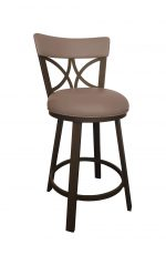 Callee's Bradley Brown Swivel Bar Stool with Padded Back, Round Seat Cushion, and Metal Frame