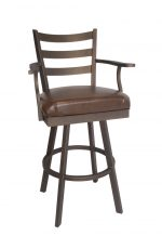 Callee's Claremont Brown Transitional Swivel Stool with Ladder Back Design, Arms, Seat Cushion, and Metal Frame