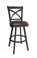 Callee's Edison Bronze Swivel Metal Barstool with Cross Back and Brown Seat Vinyl Cushion