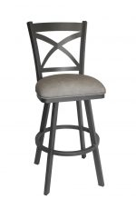 Callee's Edison Gray Metal Swivel Bar Stool with Cross Back Design and Gray Vinyl Seat Cushion