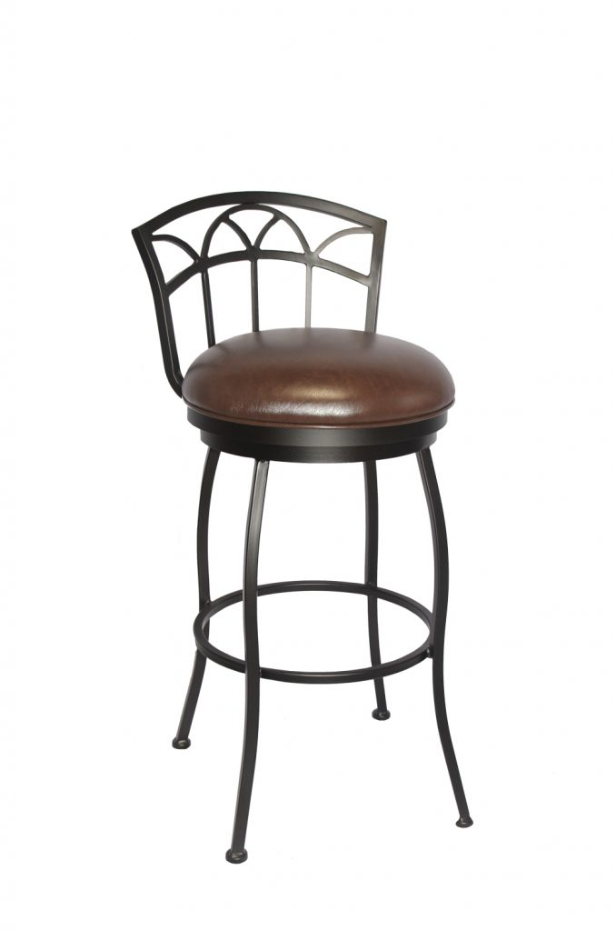 Callee's Fairview Traditional Brown Swivel Bar Stool with Low Back and Round Brown Vinyl Cushion