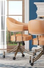 Callee's London Tilt Swivel Dining Chair with Arms in Salmon Orange Upholstery