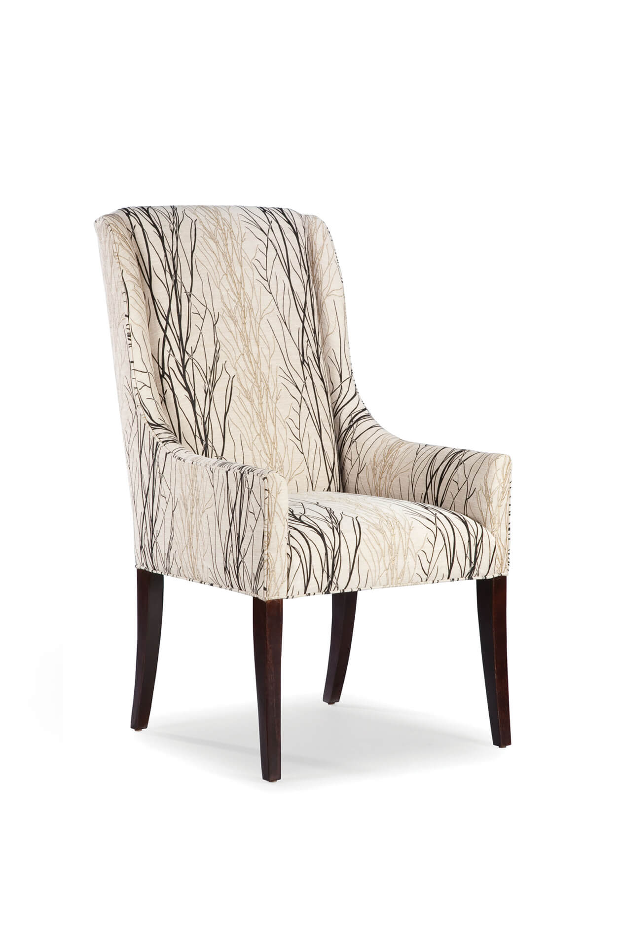 Fairfield's Dora High Back Upholstered Wooden Dining Chair with Arms