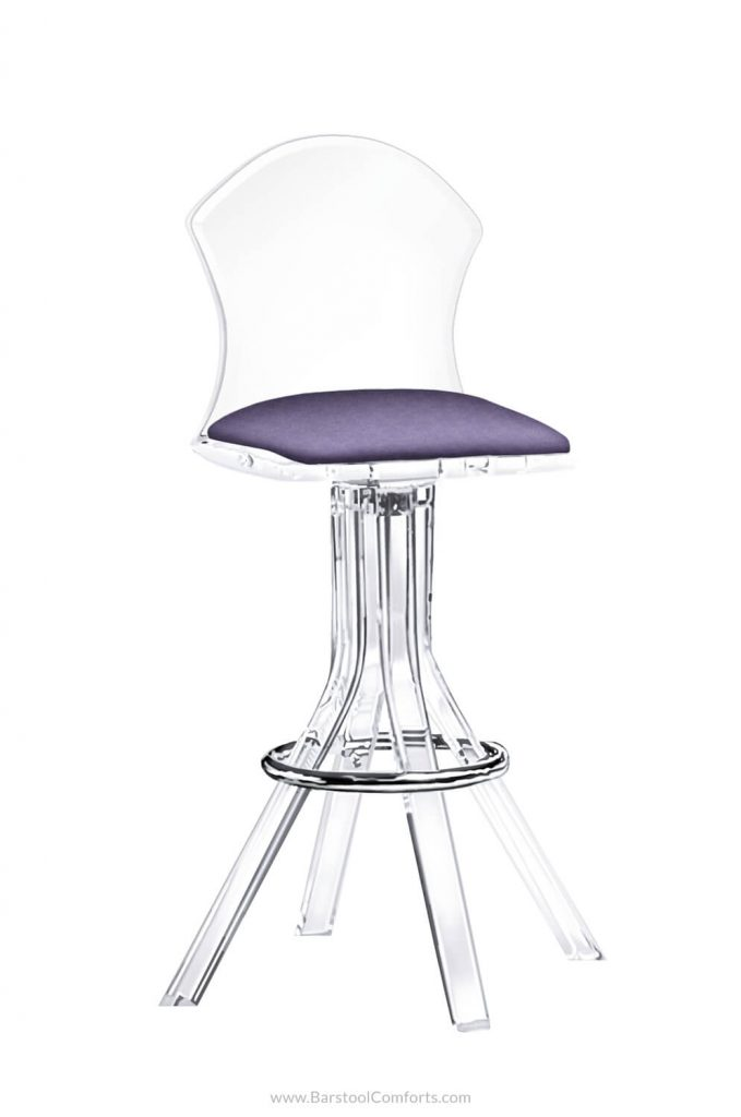 Muniz Acrylic Modern Swivel Bar Stool with Mushroom Back Design and Purple Seat Cushion