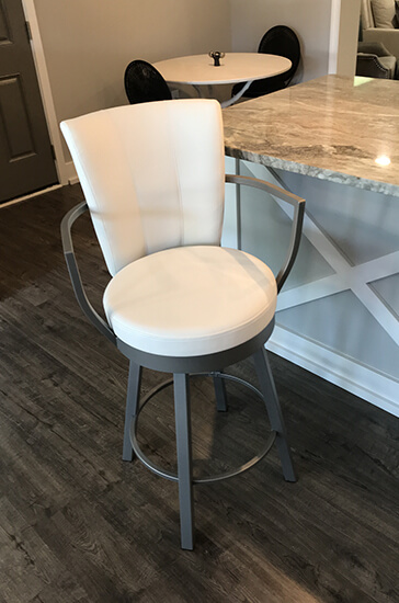 Amisco's Cardin White and Silver Swivel Counter Stool in Transitional Kitchen