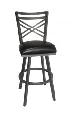Callee's Black Rebecca Transitional Swivel Bar Stool, Cross Back and Seat Cushion