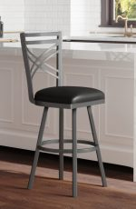 Callee's Black Rebecca Transitional Swivel Barstool in Transitional White Bright Kitchen