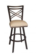 Callee's Rebecca Brown Swivel Bar Stool with Cross Back and Tan Seat Cushion
