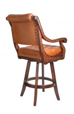 Darafeev's Ponce De Leon Luxury Wooden Swivel Bar Stool with Arms, Button Tufting on Back, and Nailhead Trim - View of Back