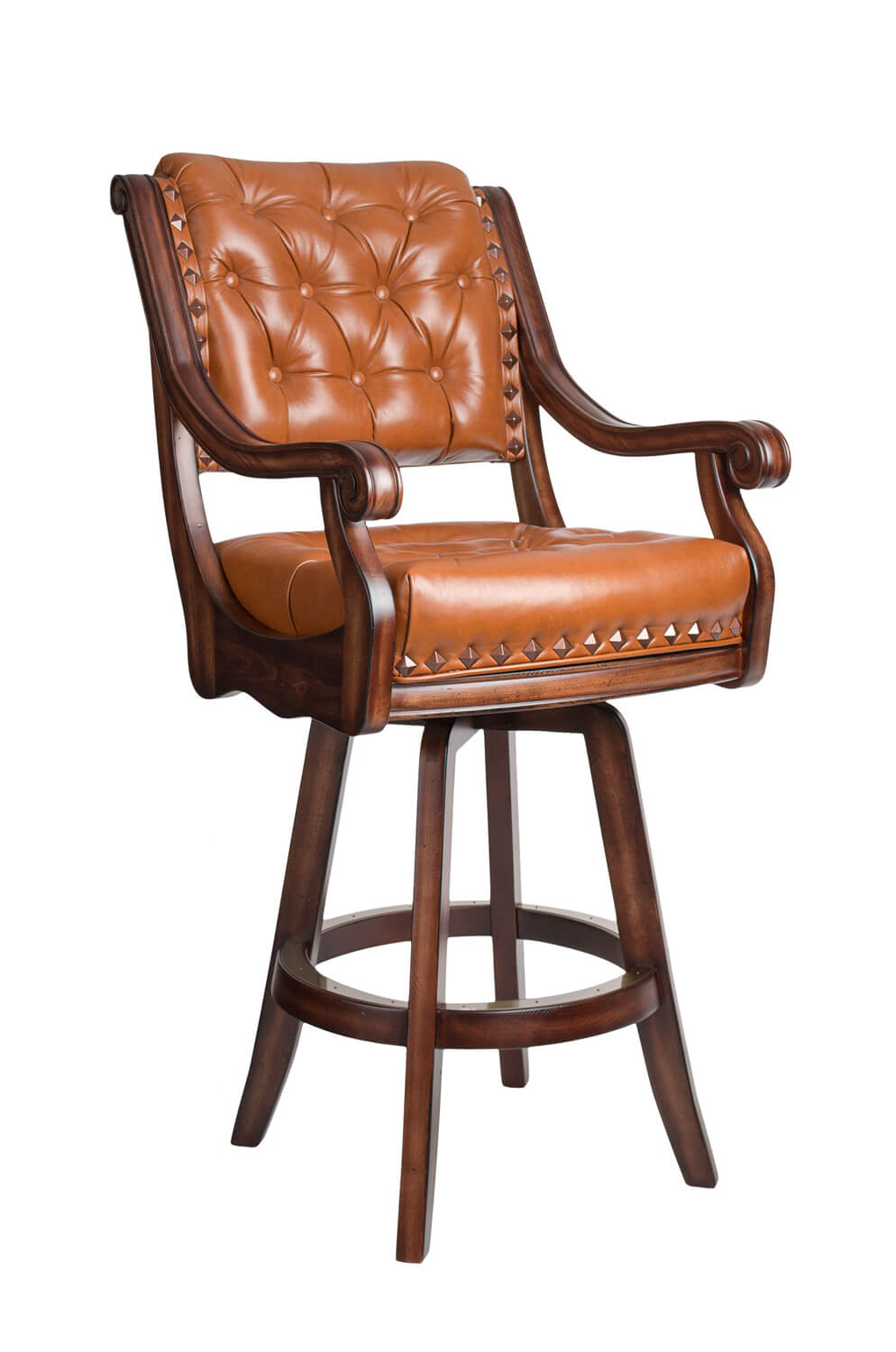 Darafeev's Ponce De Leon Wooden Swivel Stool with Arms