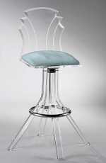 Muniz Tiffany Acrylic Swivel Bar Stool with Seafoam Green Fabric