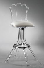 Muniz' Scallop Acrylic Modern Swivel Bar Stool with Back and Seat Cushion