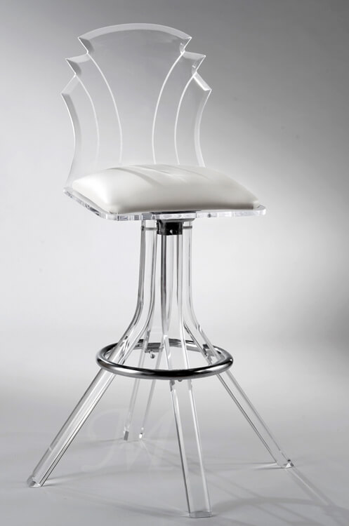 Muniz Tiffany Acrylic Modern Swivel Stool with Back