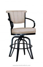 Lisa Furniture's #2546 Tilt Swivel Metal Upholstered Bar Stool with Arms