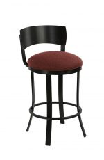 Wesley Allen's Baltimore Swivel Stool with Back in Black Stainless Steel with Metal Base and Round Red Seat Cushion