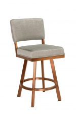 Wesley Allen's Miami Modern Swivel Bar Stool with Back in Copper Stainless Steel Metal Finish