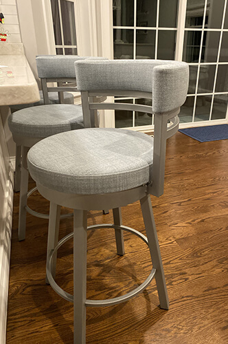 Amisco's Upholstered Swivel Counter Stool with Low Back in Blue and Gray Kitchen