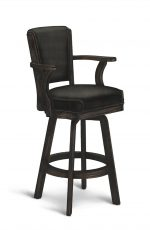 Darafeev's 610 Wood Swivel Bar Stool with Arms in Rustic Graphite Wood Finish